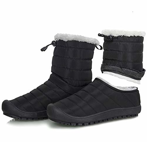 5d16a356b127 WateLves Mens Womens Snow Boots Winter Anti-Slip Ankle Booties Outdoor Slippers  Slip On with Warm Fully Fur Lined