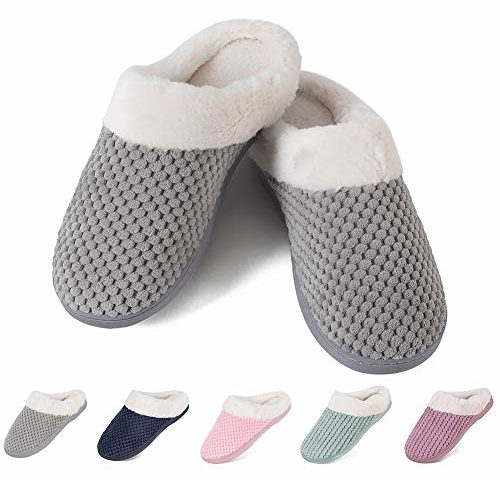 84ae8ecdf1b9d Womens House Shoes Men's Warm Slippers Cotton Home Shoes Comfortable Fleece  Memory Foam Plush Lining Slip-on Cozy Clog House Shoes Indoor & Outdoor