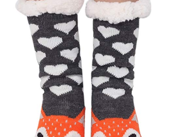 f7cb4e747ca06 Marlong Womens Warm Soft Cute Cartoon Animals fuzzy Cozy Non-Slip Winter  Indoor Slipper Socks